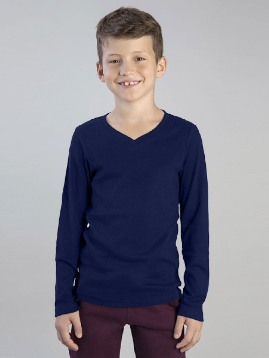 BASIC V NECK RIB-KIDS
