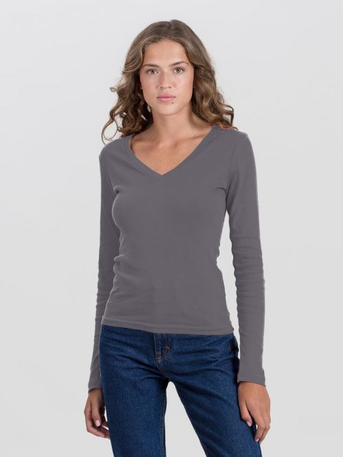 BASIC V NECK RIB-WOMEN